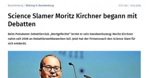 MAZ-Artikel: Science Slamer Moritz Kirchner begann mit Debatten