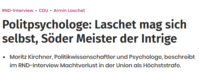 Read more about the article Laschet mag sich selbst, Söder Meister der Intrige – Interview im RND